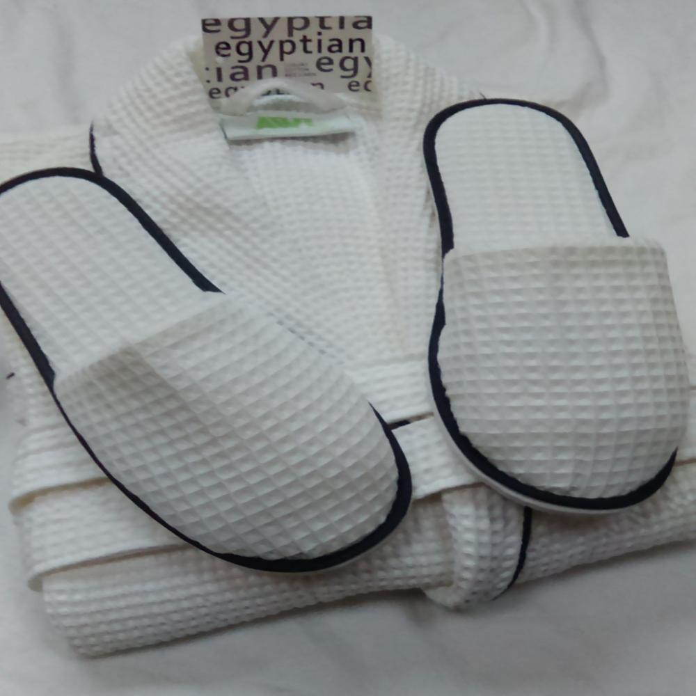 Luxury Egyptian Cotton Black Trim White Waffle Bath Robes