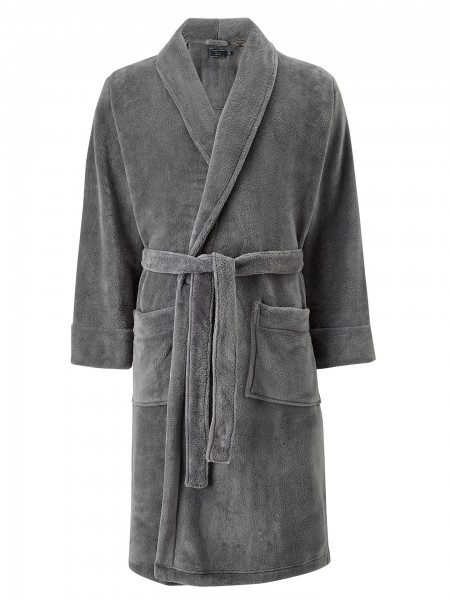 Grey Polyester Fleece Soft Dressing Gowns Size XL