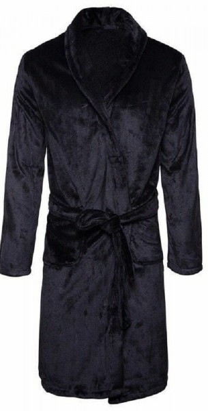 Black Super Soft And Fluffy Microfibre Luxury Bath Robe